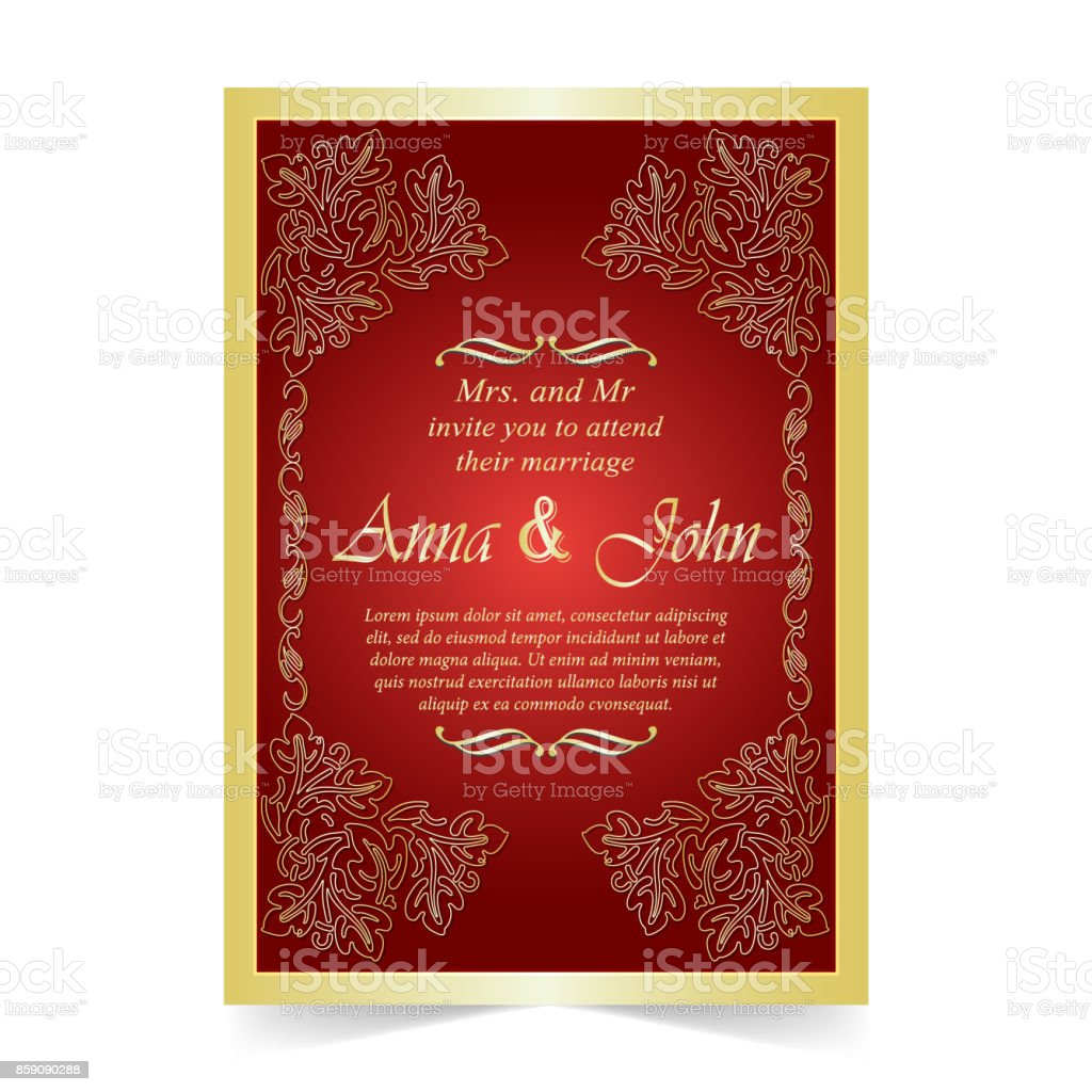 Invitation Card Wedding Card With Ornament On Red Background Stock ...