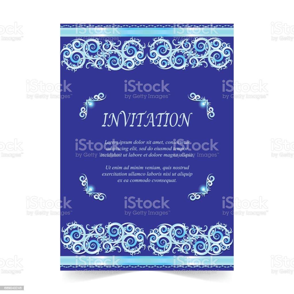Invitation card wedding card with ornament on royal blue background invitation card wedding card with ornament on royal blue background royalty free invitation card stopboris Choice Image