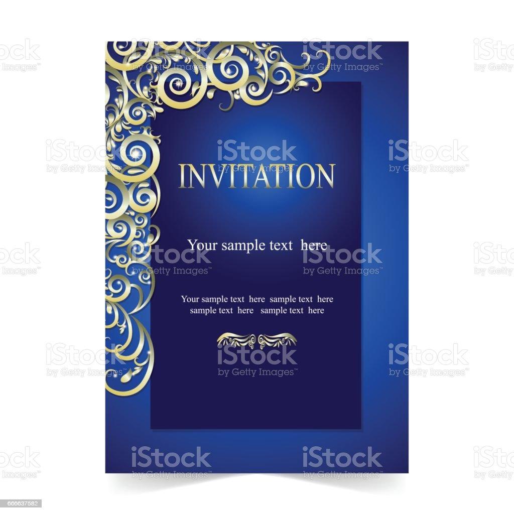 Invitation Card Wedding Card With Ornamental On Blue