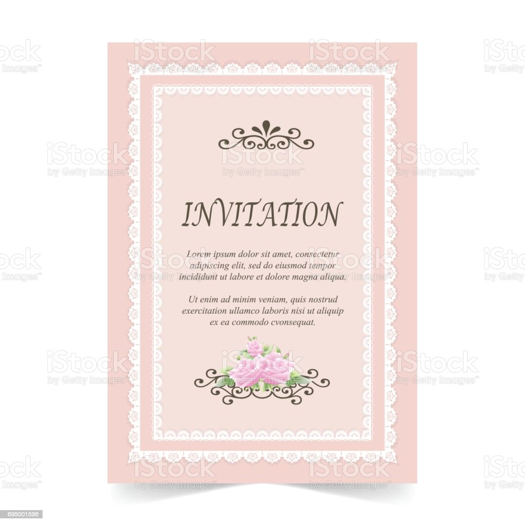 Invitation Card Wedding Card With Rose Flower And Lace Frame Pink ...