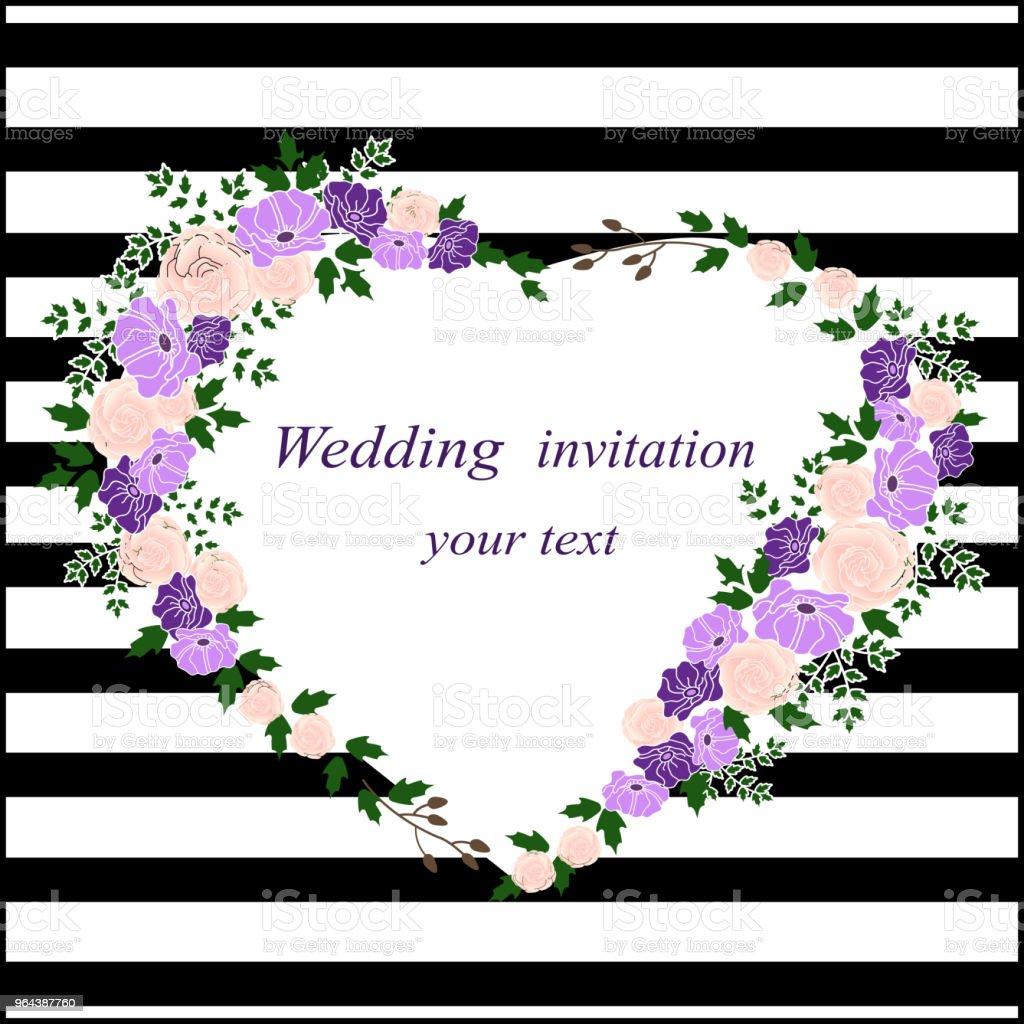 Cartão do convite com um coração de flor. Convite de casamento - Vetor de Amor royalty-free