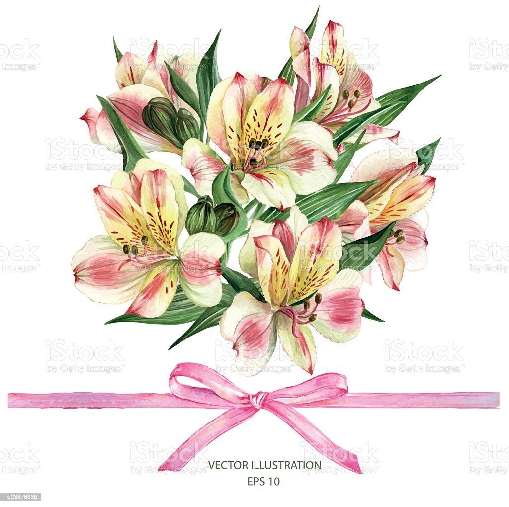 Tarjeta de invitación con Alstroemeria flores. - ilustración de arte vectorial