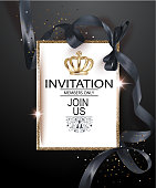 VIP invitation card with black ribbon and gold vintage frame. Vector illustration