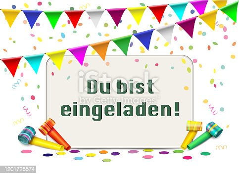 """istock Invitation card with confetti, blows and pennant garland, German text """"Du bist eingeladen"""" translated """"You are invited"""", Card for birthday, carnival and more. Vector illustration isolated on white background 1201725574"""