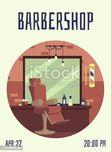 istock Invitation card with date, time at hair salon or barbershop a vector illustration 1316988164