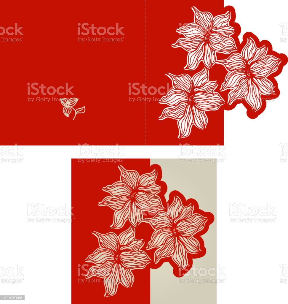 Invitation Card With Floral Pattern In Red Color For Weddings And ...