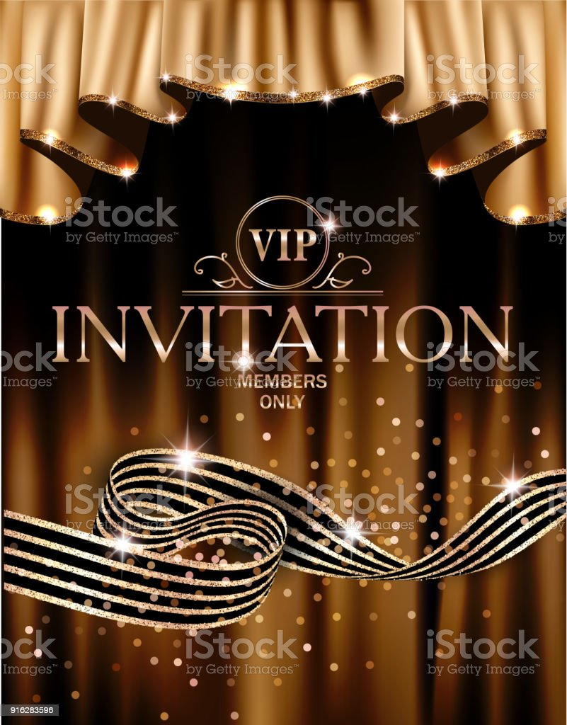 Vip invitation card with gold curtains on the background and striped vip invitation card with gold curtains on the background and striped ribbon vector illustration royalty stopboris Image collections