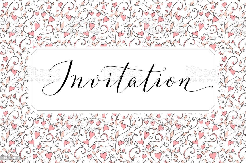 Ilustración De Tarjeta De Invitación Con La Mano Escrita