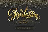 """VIP invitation card with lettering """"invitation"""""""