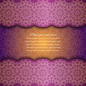 Invitation card with mandala border. Violet lace card. Glowing card. Gold mandala pattern.