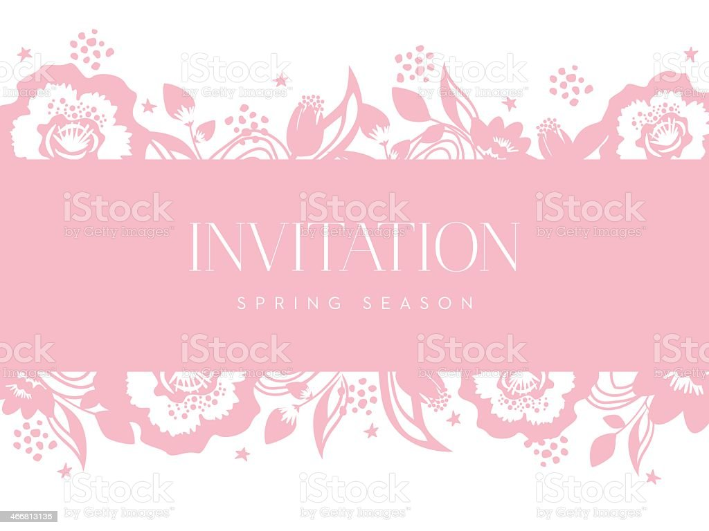 Invitation card with pink banner and flower on white background invitation card with pink banner and flower on white background royalty free invitation card with stopboris Images