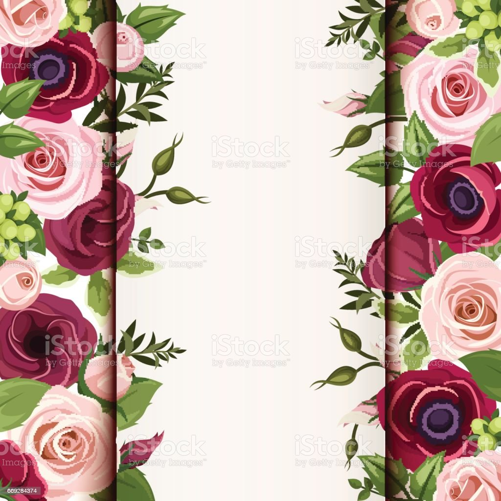 Invitation Card With Red And Pink Roses Lisianthuses And