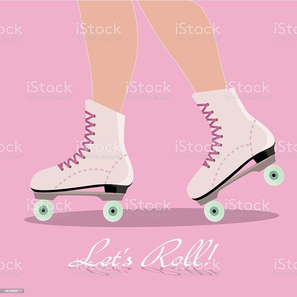 Invitation card with roller skates boots vector art illustration