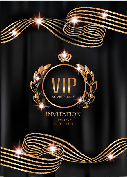 vip invitation card with striped curly ribbons, vintage frame and black curtains on the background. vector illustration - empire stock illustrations