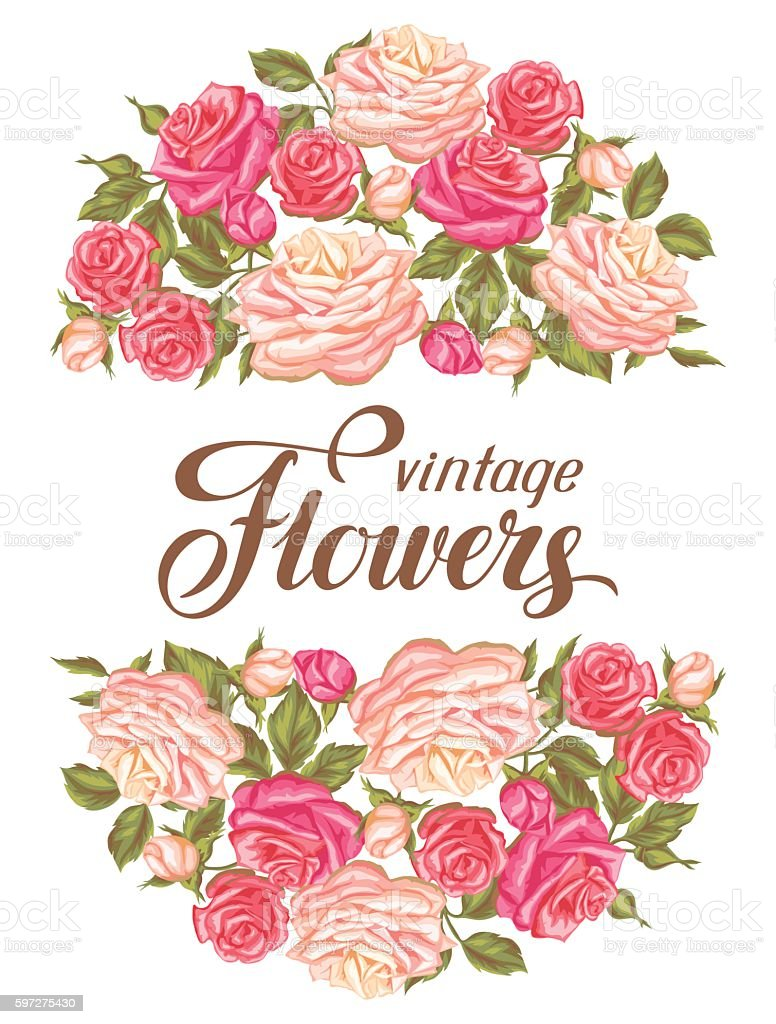 Invitation card with vintage roses decorative retro flowers image invitation card with vintage roses decorative retro flowers image for royalty free invitation stopboris Image collections