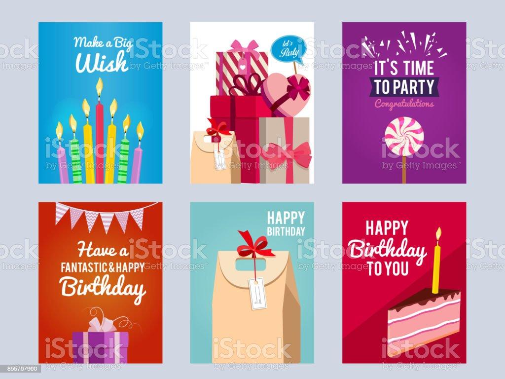 Ilustración de Tarjetas De Invitación Para Fiesta De Cumpleaños De ...