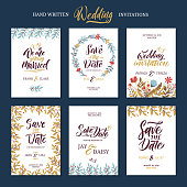 Invitation cards for wedding with calligraphy words. Save the date. Card wedding with floral decoration, illustration of wedding invitation and save the date