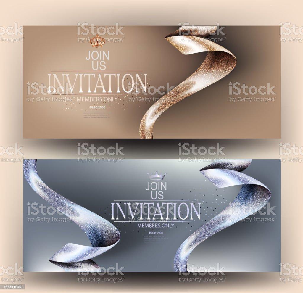 Ilustración De Tarjetas De Invitación Vip Con Hermosas