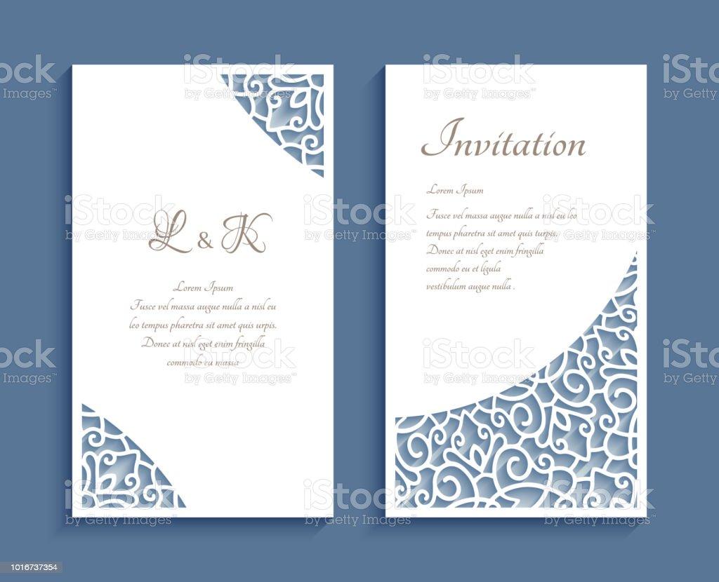 Ilustración de Tarjetas De Invitación Con Patrones De Esquina De ...