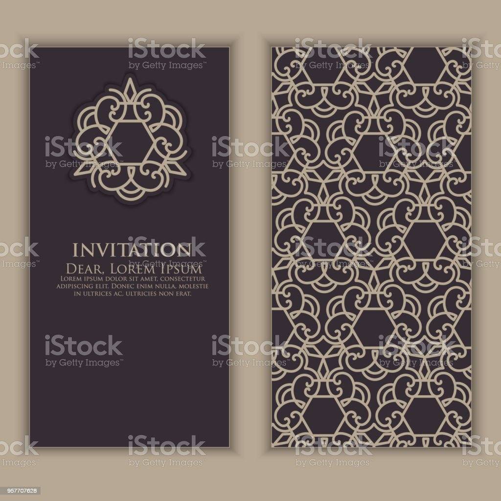 Invitation cards with ethnic arabesque elements arabesque style invitation cards with ethnic arabesque elements arabesque style design business cards elegant reheart Gallery