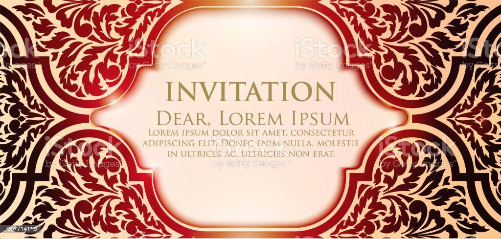 Invitation Cartes Avec Des Elements Ethniques Arabesque Dessin De Style
