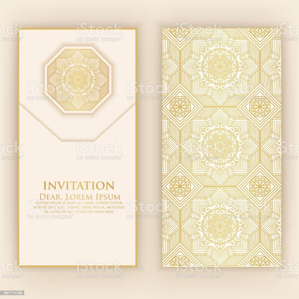 Invitation Cartes Avec Des Lments Ethniques Arabesque Dessin De Style