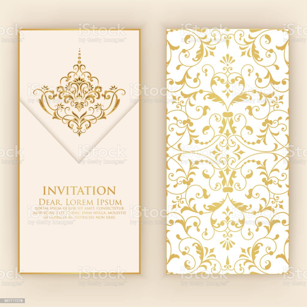Invitation Cards With Ethnic Arabesque Elements Arabesque Style ...