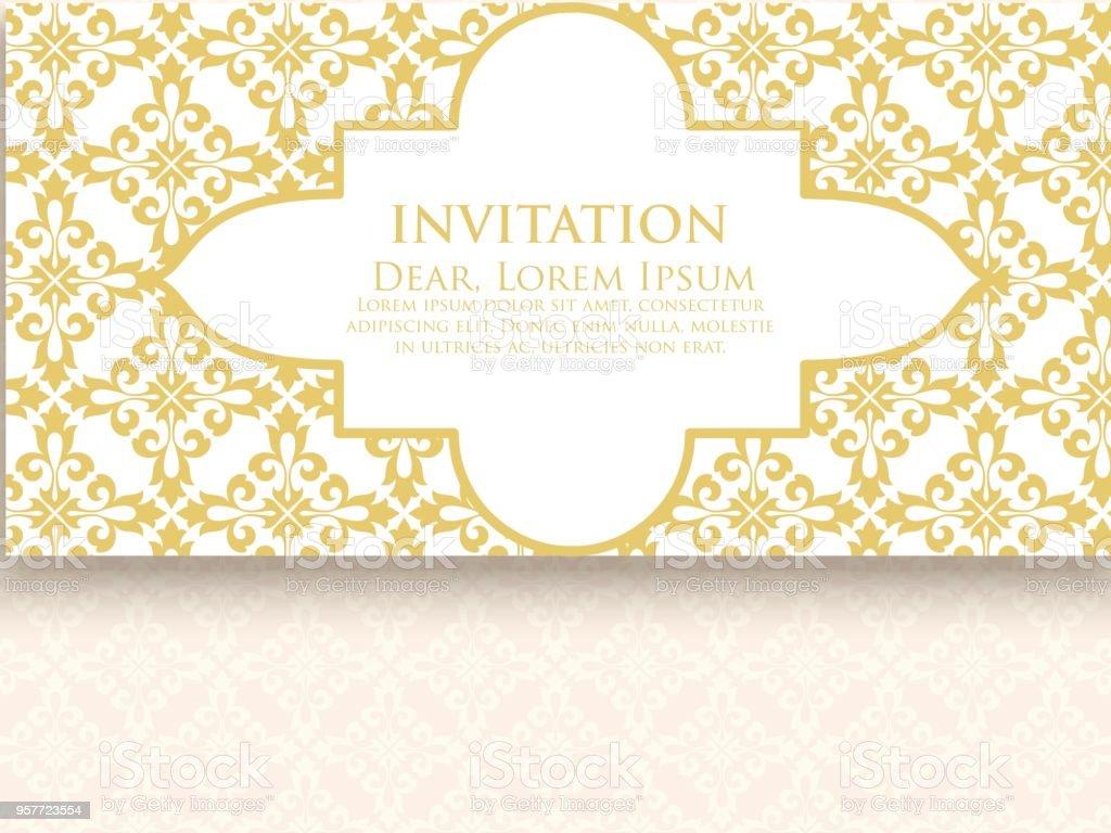 Invitation Cartes Avec Damas Ethnique Ou Dlments De Larabesque Design