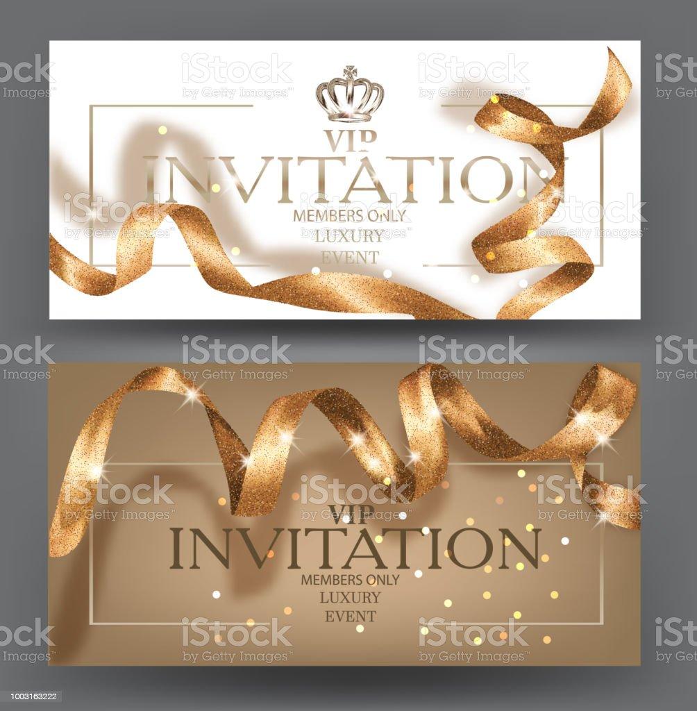 Ilustración De Tarjetas De Invitación Vip Con Brillante Oro