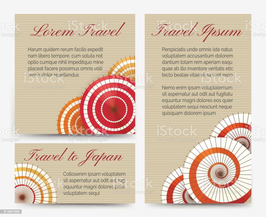 Invitation cards with japanese umbrella set stock vector art invitation cards with japanese umbrella set royalty free stock vector art stopboris Gallery