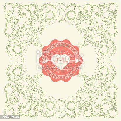 istock Invitation carte mariage avec motif floral romantique 459715093