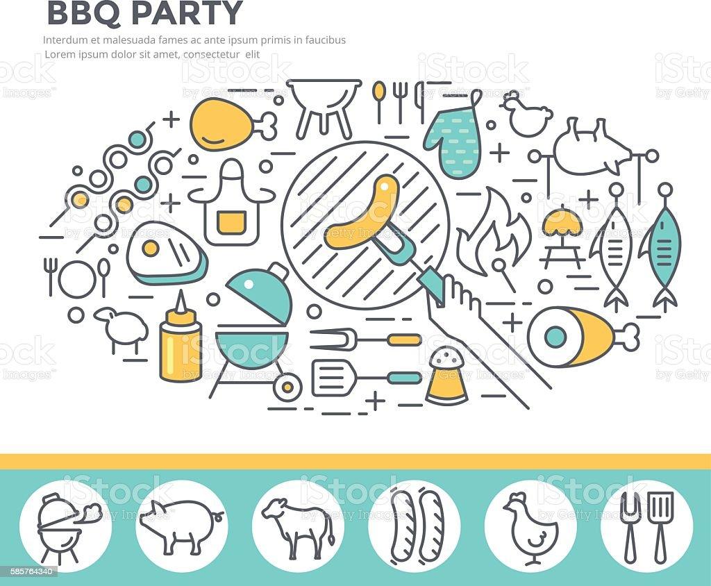 BBQ invitation concept illustration vector art illustration