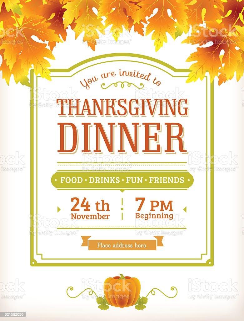 invitation design for thanksgiving dinner or party vector template flyer stock vector art more. Black Bedroom Furniture Sets. Home Design Ideas