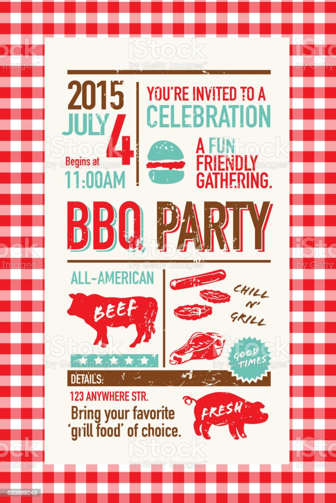 BBQ invitation design template on checkered tablecloth vector art illustration