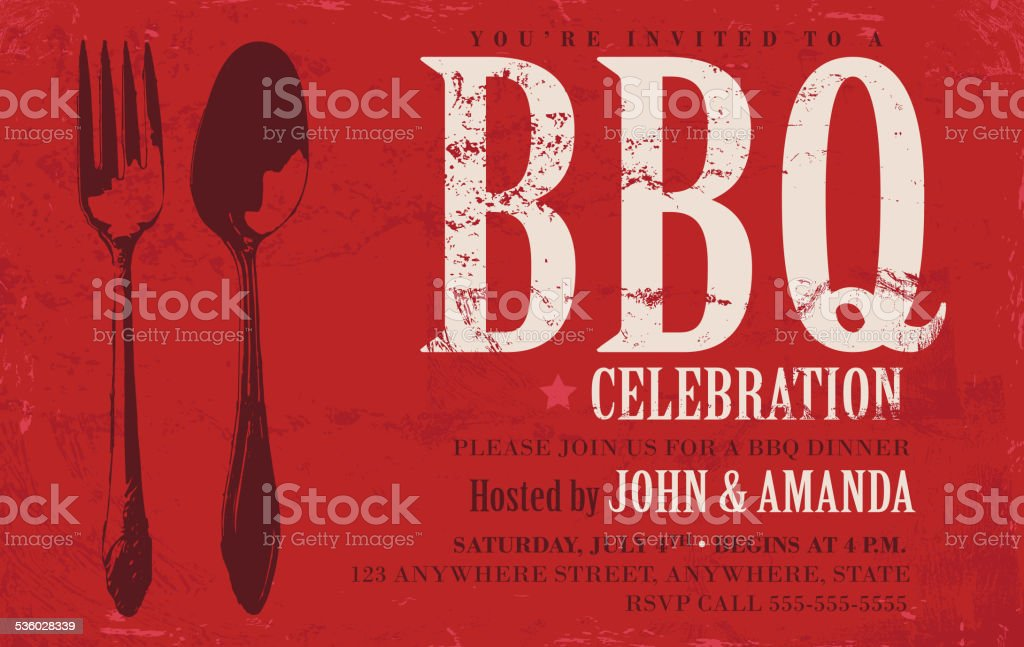BBQ invitation design template red background vector art illustration