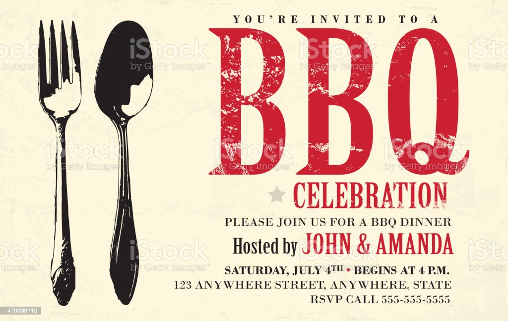 BBQ invitation design template vector art illustration