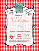 BBQ invitation design template with barbecue grill and hand drawn food and utensils. Easy to edit with layers.
