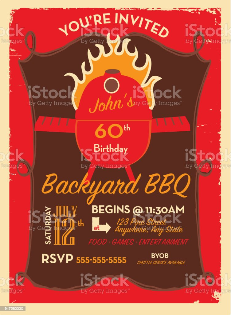 bbq invitation design template with barbecue and flames stock vector