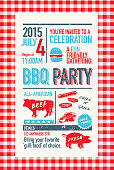 Cute Backyard BBQ themed invitation template on paper background. Checkered red and white tablecloth frame. Red, white and blue color themes with off white background. Perfect for invitation design for picnic invitation design template, summer barbecue event, picnic celebration, backyard bbq, private or Independance Day, Fourth of July, fun family event gathering. Meat cuts, pig, steer, steak.