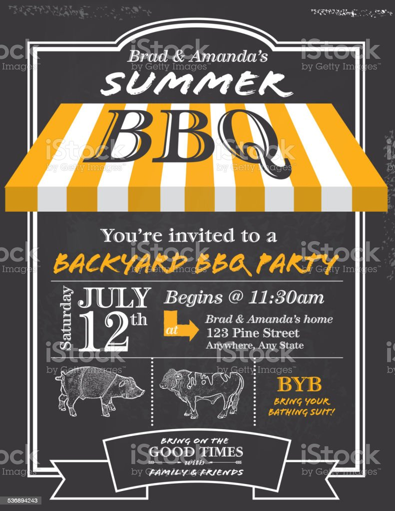 BBQ invitation design template with yellow awning vector art illustration