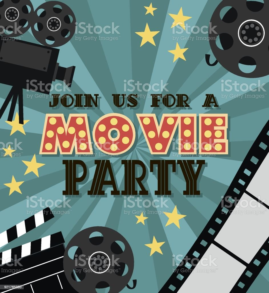 Invitation for movie party hollywood party poster cinema poster invitation for movie party hollywood party poster cinema poster royalty free invitation for stopboris Images