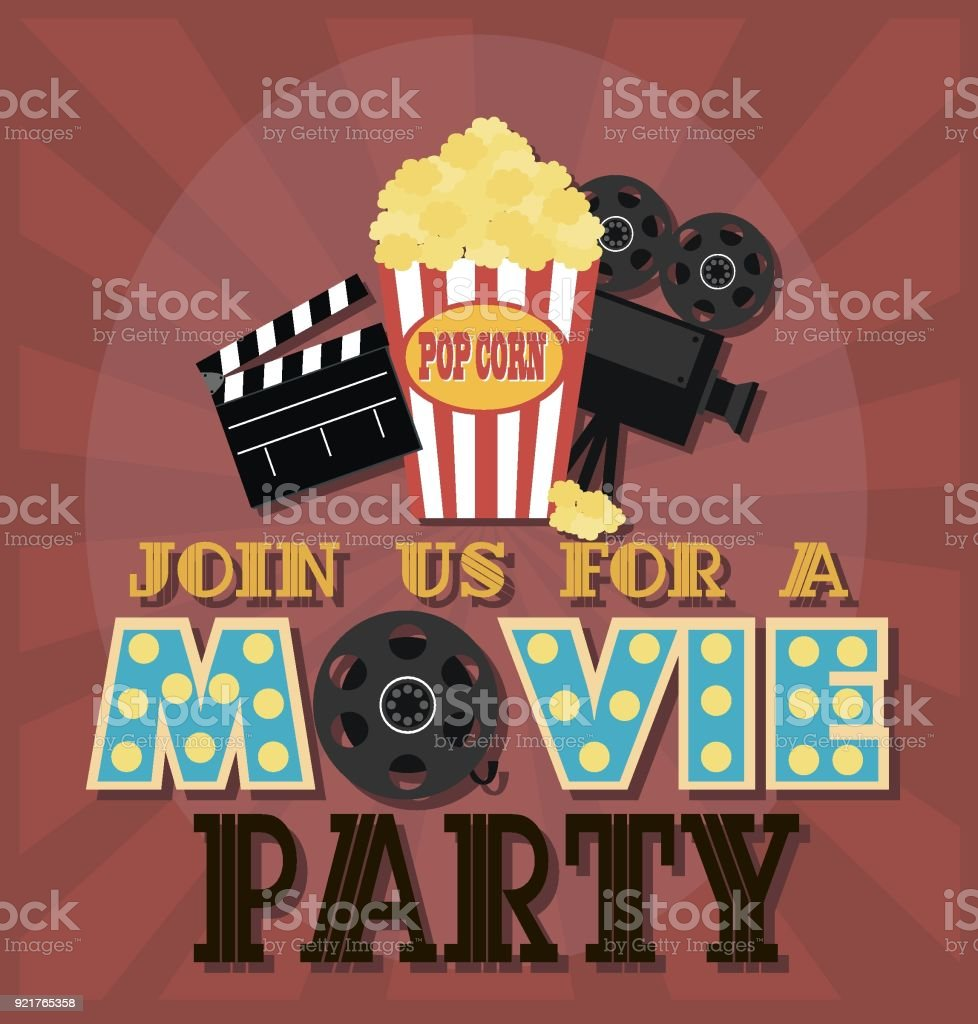 Invitation for movie party hollywood party poster cinema poster invitation for movie party hollywood party poster cinema poster royalty free stock vector stopboris Gallery