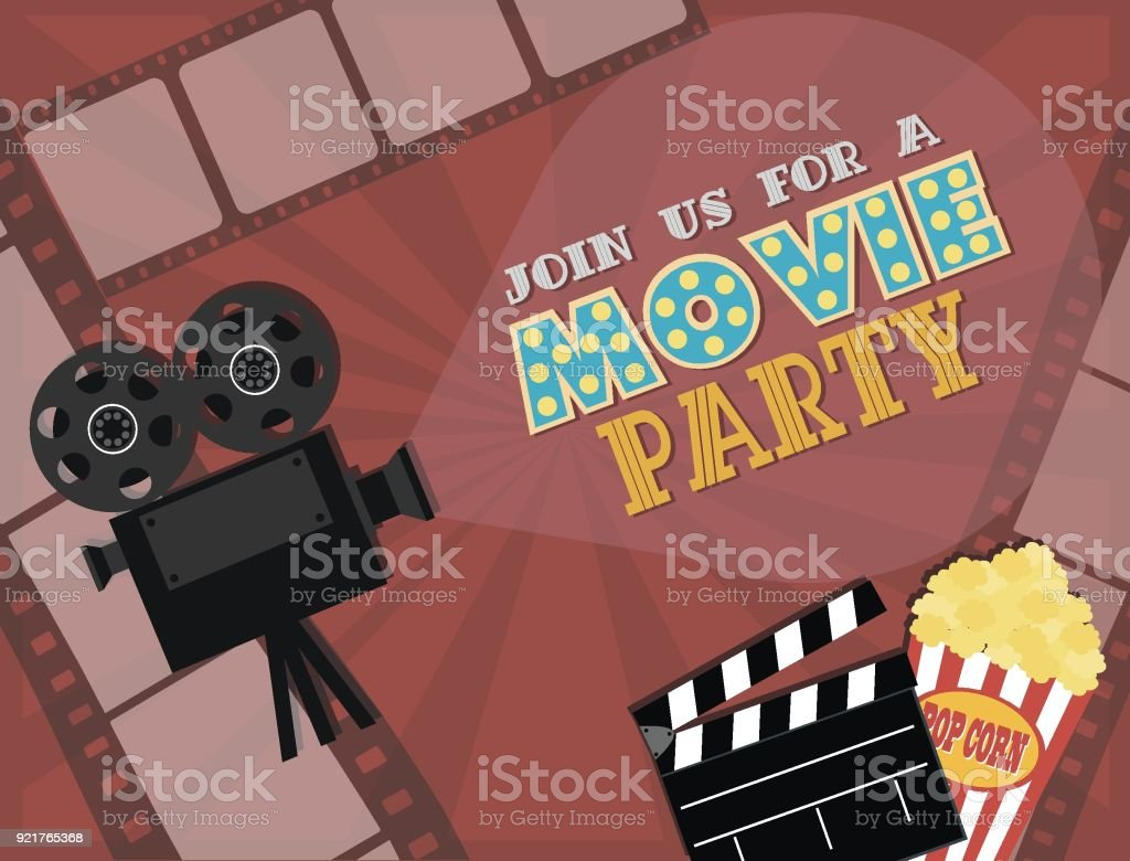 Invitation for movie party hollywood party poster cinema poster invitation for movie party hollywood party poster cinema poster royalty free invitation for stopboris Gallery