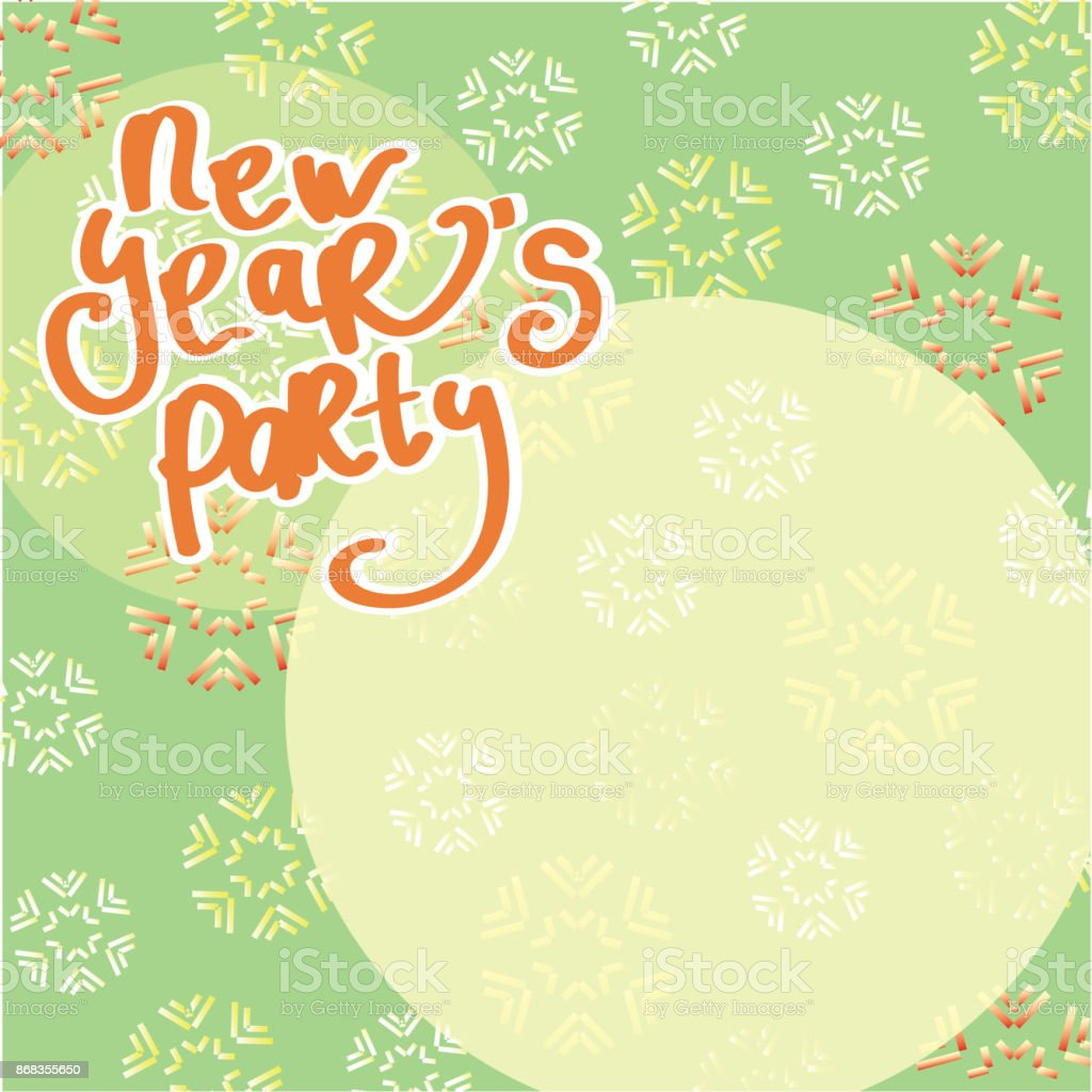 invitation for new years party with snowflakes on green background royalty free invitation for new