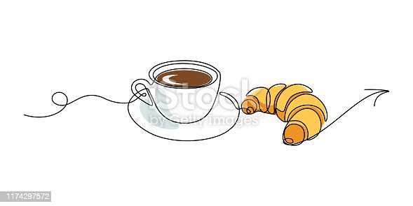 Invitation for coffee cup with croissant. Continuous line art drawing style. Vector illustration