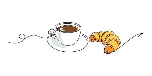 einladung zur leckeren kaffeetasse - frühstück stock-grafiken, -clipart, -cartoons und -symbole