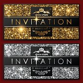Invitation gold and silver cards in vector