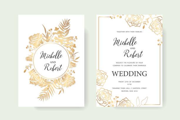 invitation gold set - anniversary borders stock illustrations