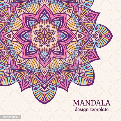 Invitation graphic card with mandala. Vintage decorative elements.