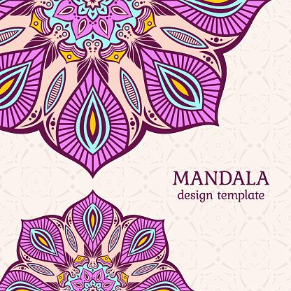 Invitation graphic card with mandalas. Vintage decorative elements.
